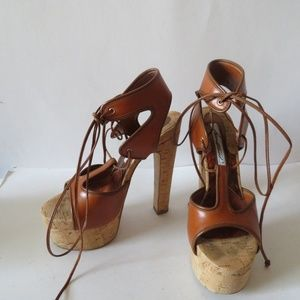 BRIAN ATWOOD BROWN LEATHER/CORK SANDALS SZ 6.5